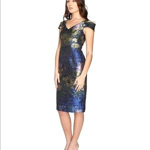 Maggie London Water Lily Off the Shoulder Sheath